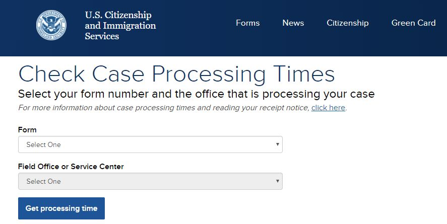 Here's what you'll see when on the USCIS processing time website