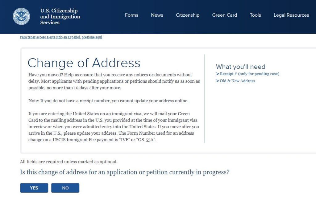 You can request a change of address on the USCIS website